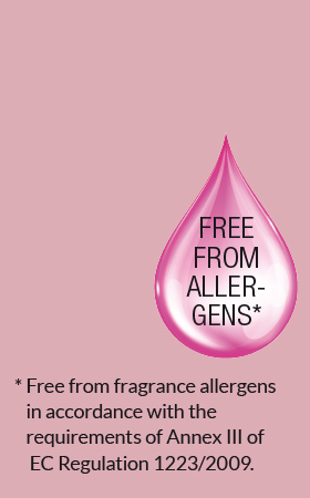 Free from fragrance allergens in accordance with the requirements of EC regulation