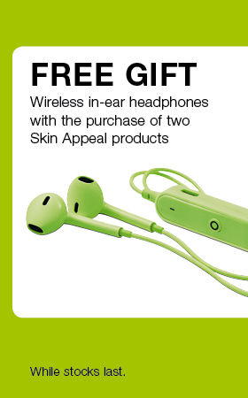 Free gift wireless in-ear headphones with the purchase of two Skin Appeal products