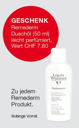 Geschenk Remederm Duschöl (50 ml) leicht parfümiert im Wert von CHF 7.80, für sehr trockene Haut.